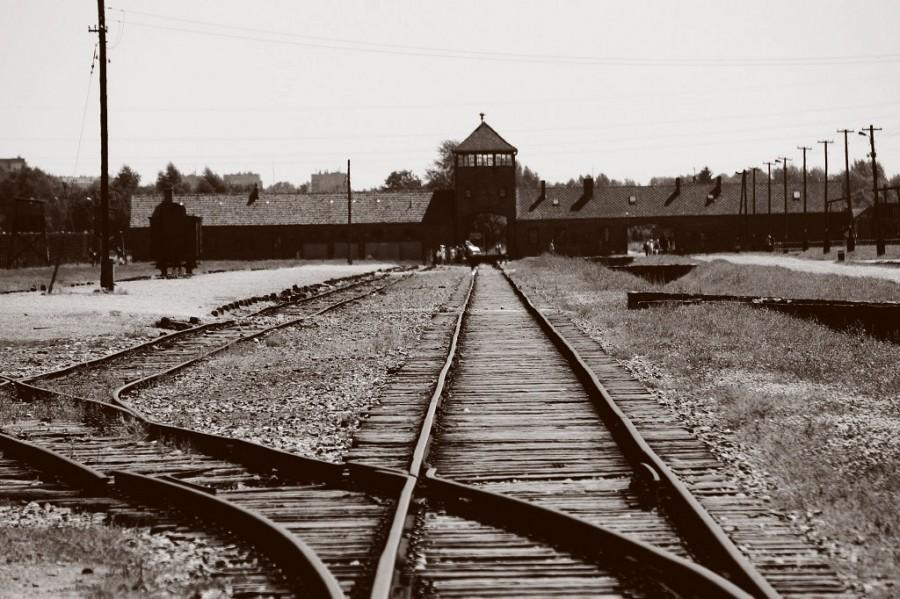 The+train+tracks+leading+to+the+entrance+of+the+infamous+Auschwitz+concentration+camp.