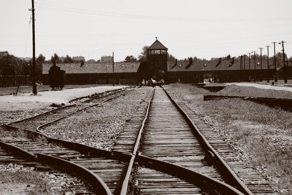 The train tracks leading to the entrance of the infamous Auschwitz concentration camp.