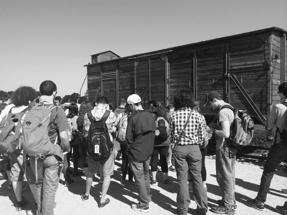 """One of the """"cattle cars"""" that transported prisoners to Auschwitz."""