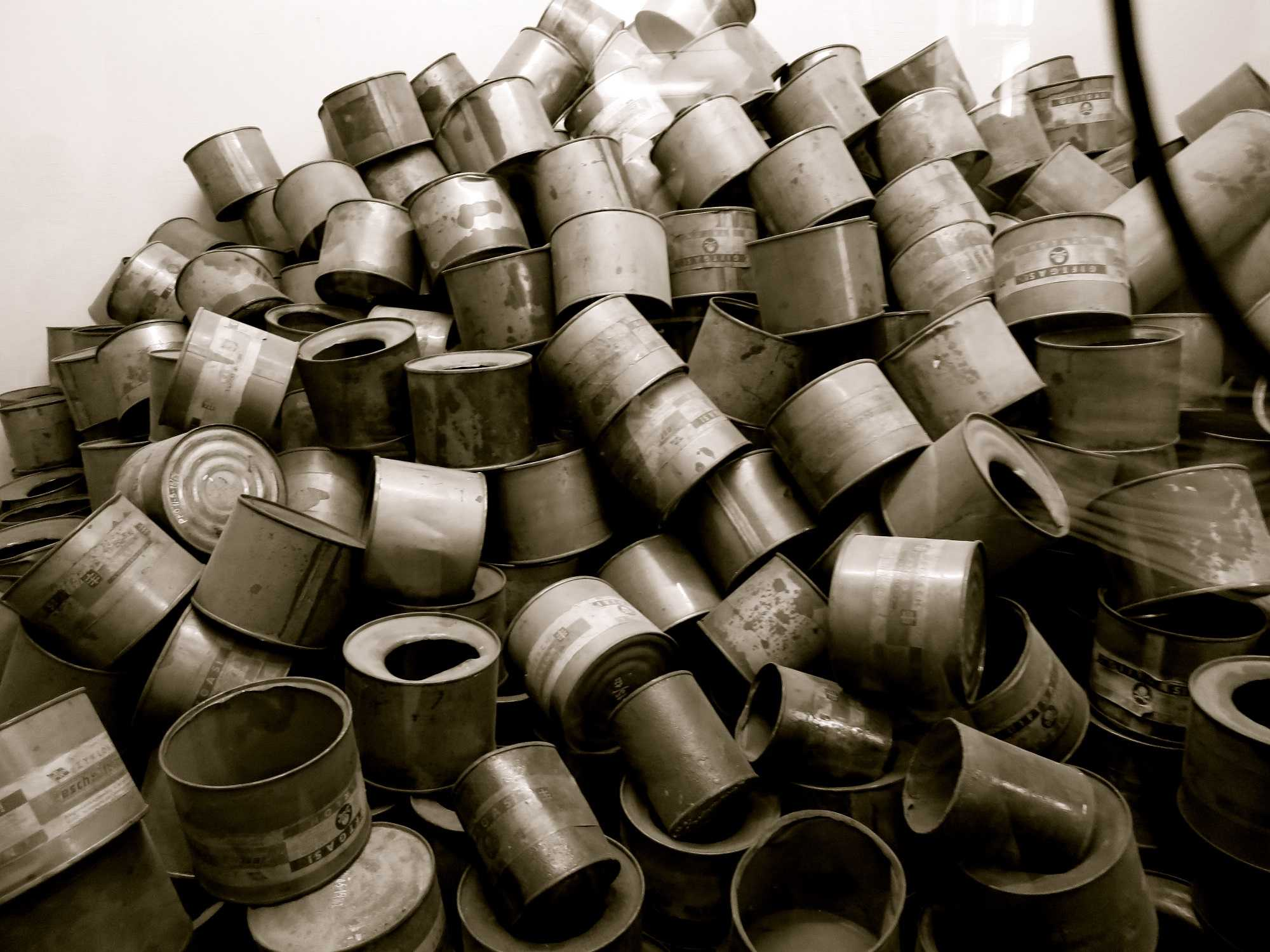 Empty canisters of ZyklonB, the deadly gas used at Auschwitz.