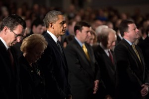 President Barack Obama attended a Sandy Hook interfaith vigil at Newtown High School in Newtown, Conn., after an elementary school shooting shocked the nation.