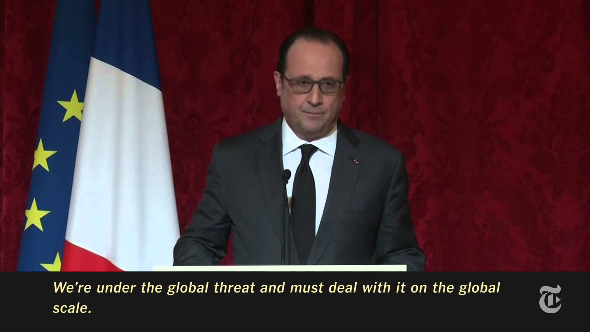 President Francois Hollande of France speaking to a group of world leaders about threats facing the West.