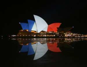 Australia's Sydney Opera House lit up in the colors of the French flag in a show of solidarity.