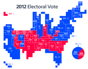 The electoral map adjusted for population centers illustrates the uphill climb for Republicans.