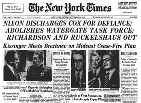 The Oct. 21, 1973 edition of <em>The New York Times</em> announcing Cox