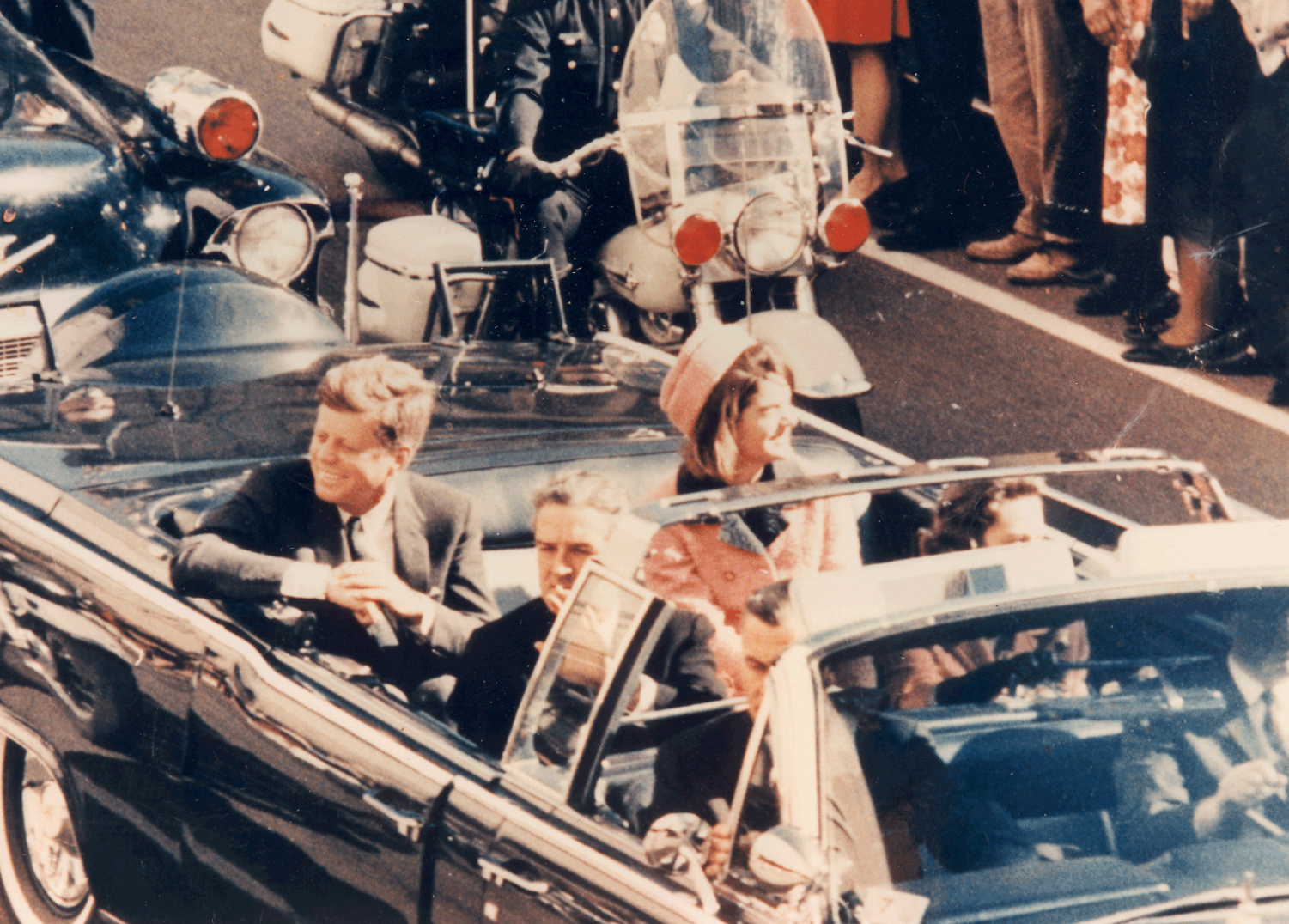 President Kennedy riding through Dallas moments before he was assassinated on Nov. 22, 1963.