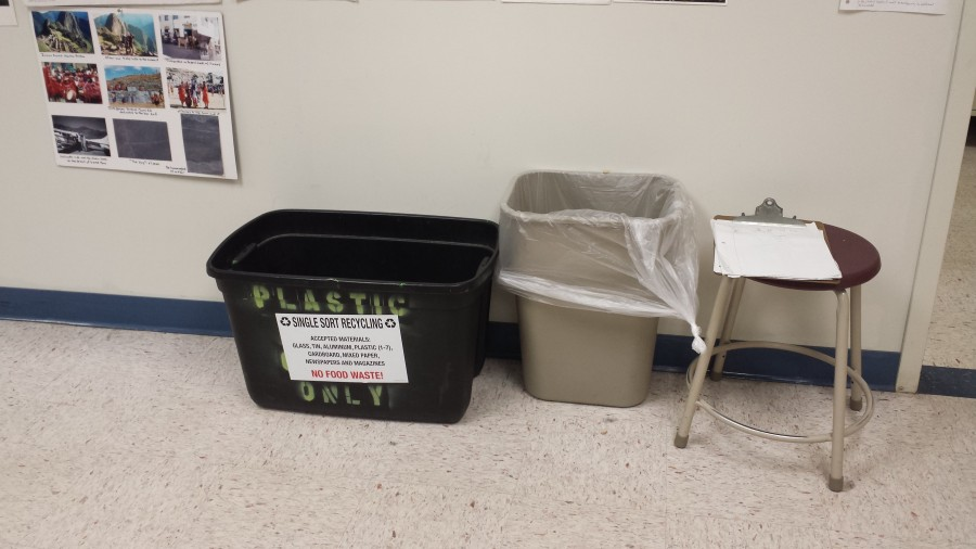 Even new labels attached to recycling bins have not cleared up rumors that the school fails to recycle.