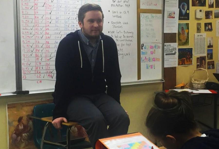 First-year+teacher+Brian+Bakkala+teaching+a+middle+school+Latin+class.