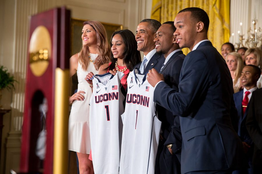 The men's and women's basketball teams at UConn were honored together at the White House when both won titles in 2014.