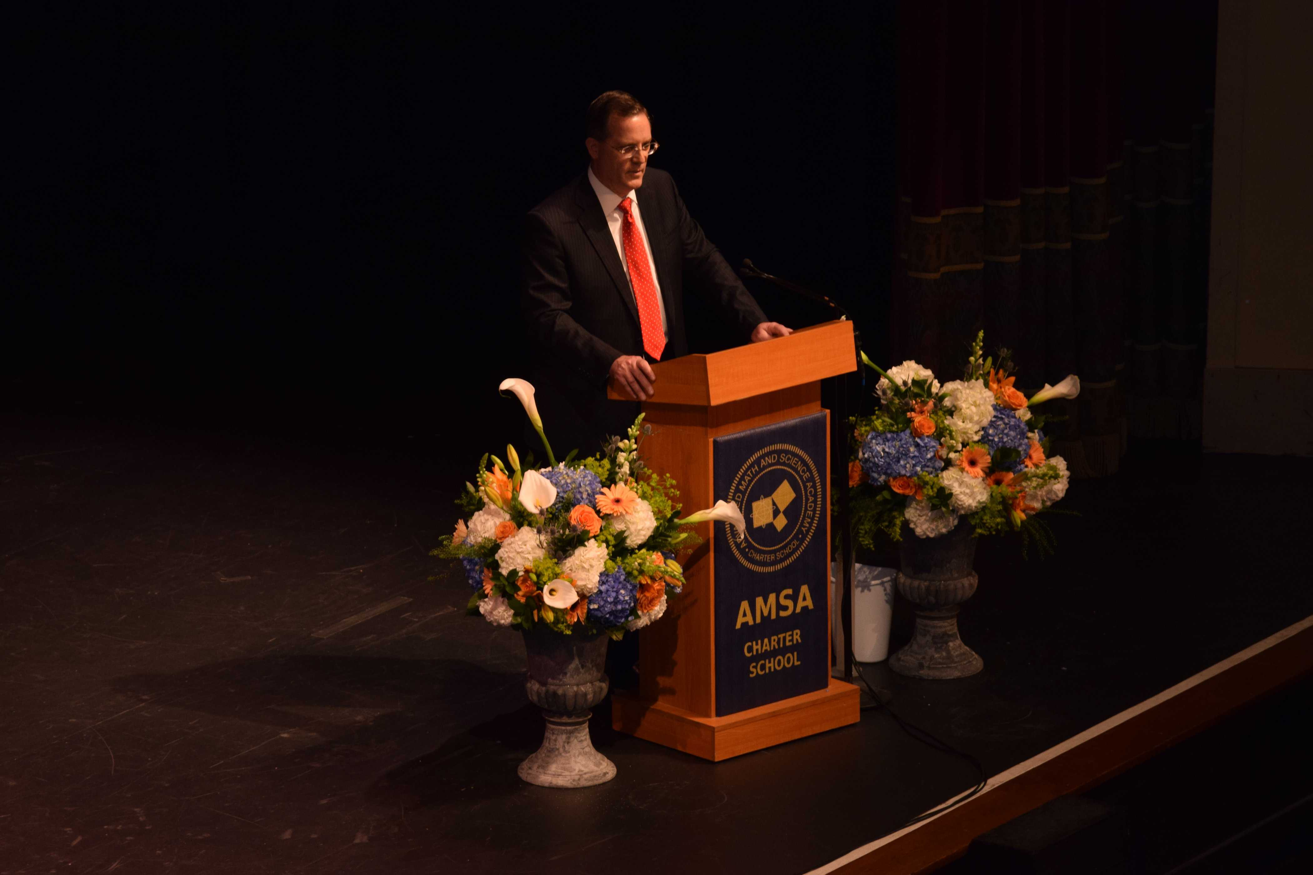 Executive Director Dr. Joseph McCleary giving remarks at Sunday's graduation ceremony in Worcester.