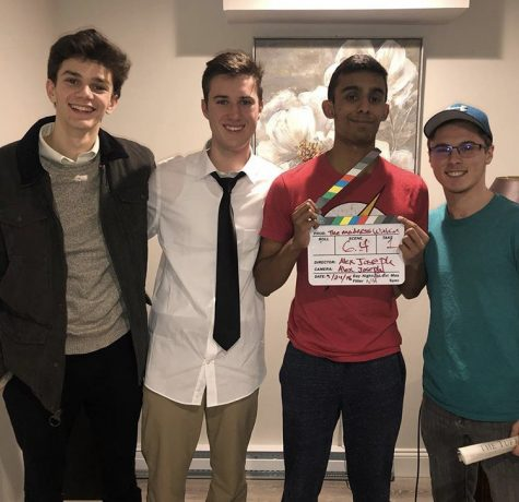Alex Joseph, second from right, is working with Robert Coakley, second from left, on a short film for his capstone project. Also pictured are Jack Denson, far left, and Zach Pouliot, far right.