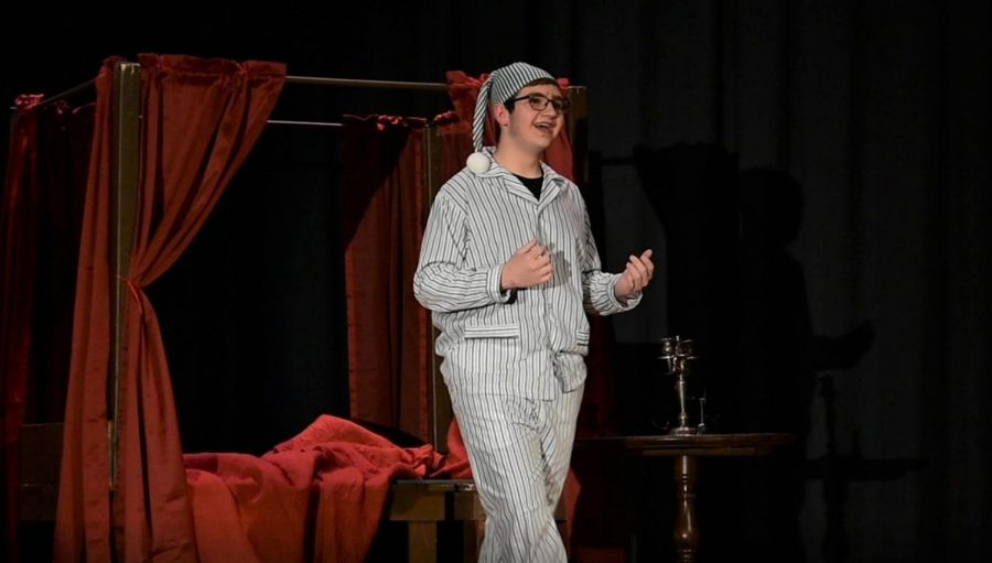 Freshman John Devereaux impressed as Ebenezer Scrooge.